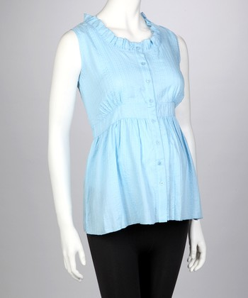 Blue Maternity Sleeveless Top - Women