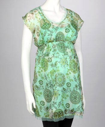 Green Paisley Maternity Tunic - Women