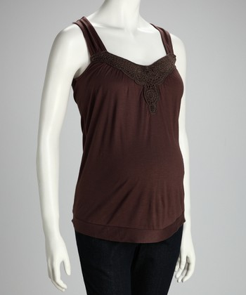 Brown Embroidered Maternity Tank