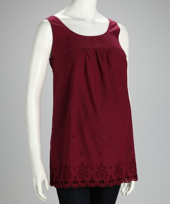 Burgundy Maternity Sleeveless Top - Women