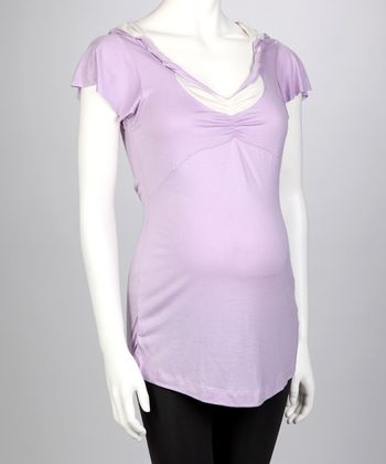 Lavender Maternity Angel-Sleeve Top - Women