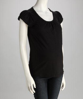 Black Embellished Maternity Cap-Sleeve Top
