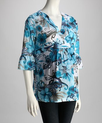 Blue & White Floral Maternity Surplice Top - Women
