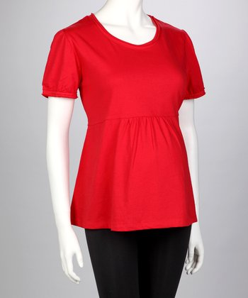 Red Maternity Tee - Women