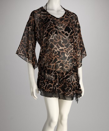 Black & Beige Abstract Maternity Cover-Up
