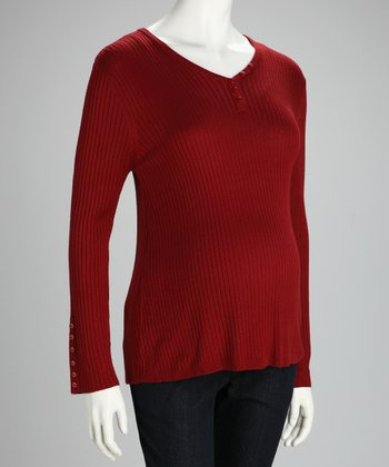 Red Ribbed Maternity Henley - Women