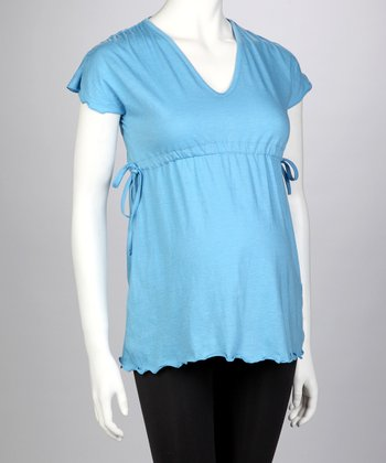 Blue Maternity Angel-Sleeve Top