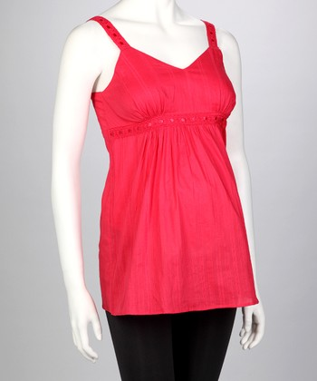 Red Shirred Maternity Tank