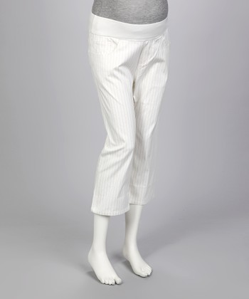 White Pinstripe Under-Belly Maternity Capri Pants - Women