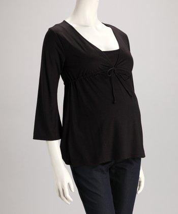 Dynabelly Black Front-Tie Maternity V-Neck Top
