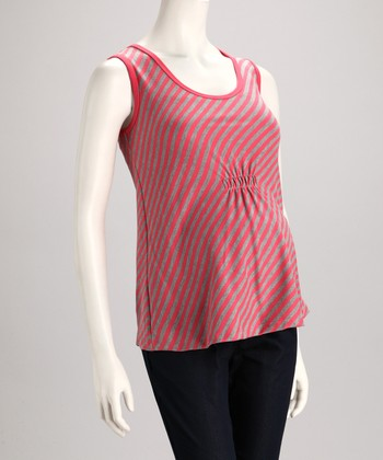 Pink Stripe Maternity Sleeveless Top
