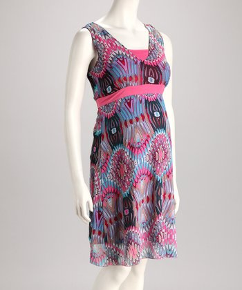 Pink & Blue Geometric Maternity Dress