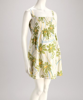 Green Floral Maternity Empire-Waist Dress