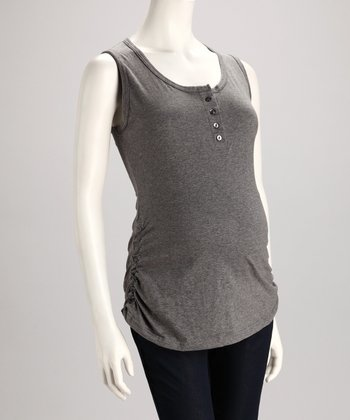 Gray Button Maternity Tank - Women
