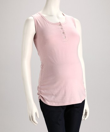 Pink Button Maternity Tank - Women