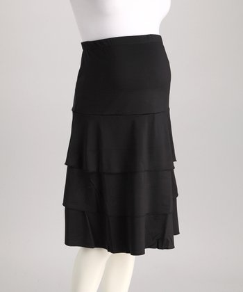 Black Tiered Maternity Skirt - Women