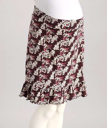 Brown & Pink Floral Maternity Skirt - Women