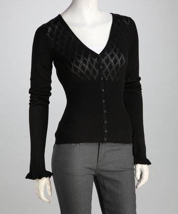 Black Sheer V-Neck Cardigan - Women
