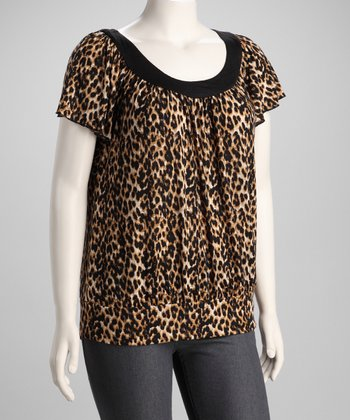 Black Leopard Angel-Sleeve Top - Plus