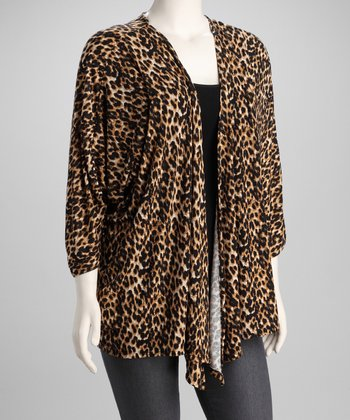 Leopard Open Cardigan - Plus