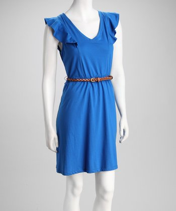 Cobalt Belted Plus-Size Dress