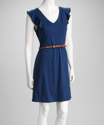 Navy Belted Plus-Size Dress