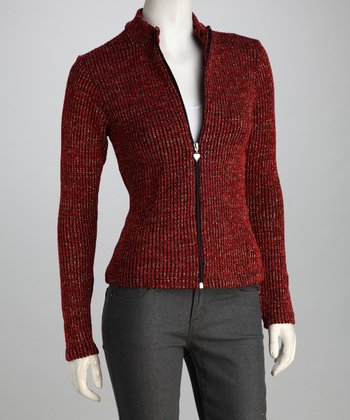 Red Knit Zip-Up Jacket - Women