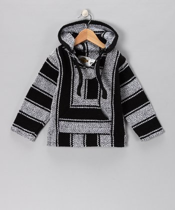 Navy & Gray Stripe Baja Hoodie - Girls