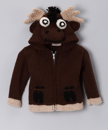 Brown Moose Wool-Blend Zip-Up Hoodie - Toddler & Kids