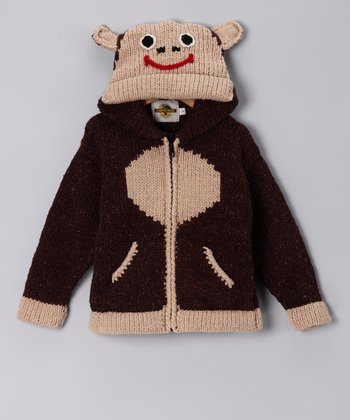Brown Monkey Wool-Blend Zip-Up Hoodie - Toddler & Boys