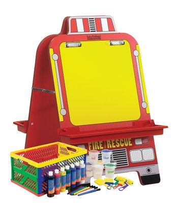 Fire Engine Easel & Paint Crate Set