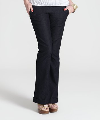 Blue Denim Over-Belly Maternity Trouser Pants