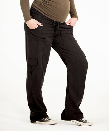 Black Over-Belly Maternity Cargo Pants