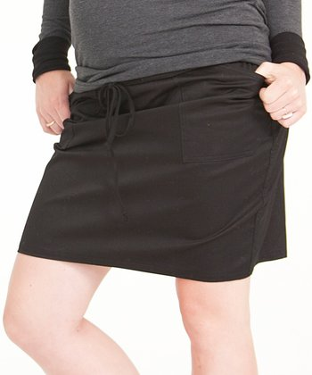Ink Denim Utility Under-Belly Maternity Skirt
