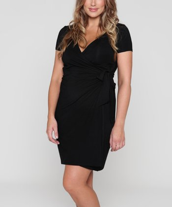 Black Maternity & Nursing Wrap Dress - Women