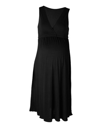 Black Maternity & Nursing Nightgown - Women
