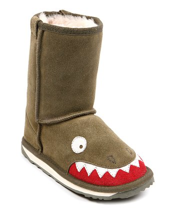 Olive Suede Little Creatures Crocodile Boot – Kids