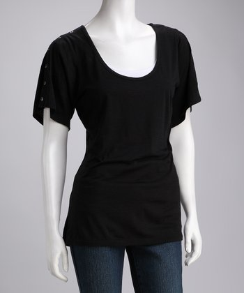 Black Kioba Merino Wool Top - Women