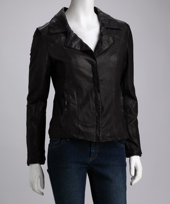Black Cassini Leather Jacket - Women