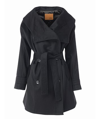 Black Huonville Merino Wool Coat