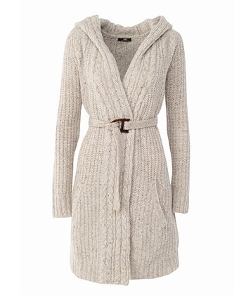 Sand Nariel Valley Merino Wool Belted Duster - Women