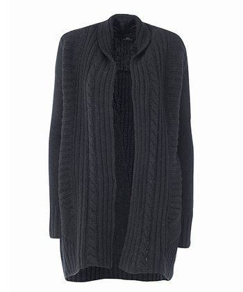 Black Bellbird Creek Merino Wool Open Cardigan - Women