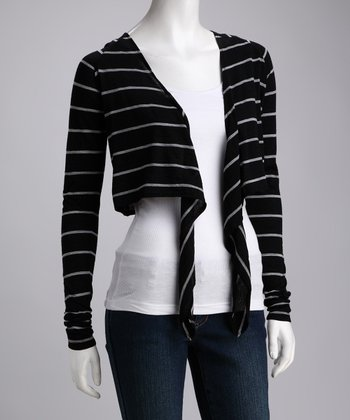 Black & Gray Kalbari Merino Wool Open Cardigan - Women