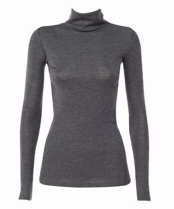 Charcoal Inverlock Skivvy Merino Wool Turtleneck