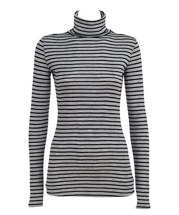 Gray & Black Stripe Inverlock Skivvy Merino Wool Turtleneck