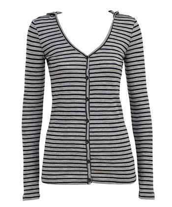 Gray & Black Stripe Mudgee Merino Wool Hooded Cardigan - Women
