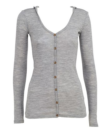 Gray Mudgee Merino Wool Hooded Cardigan - Women