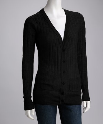 Black Pacific Palms Merino Wool Cardigan - Women