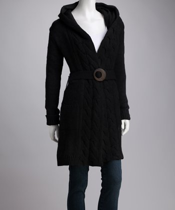 Black Daydream Merino Wool Hooded Duster - Women
