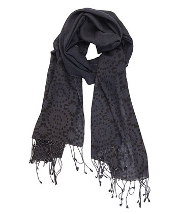 Charcoal Elliot Heads Merino Wool Scarf - Women